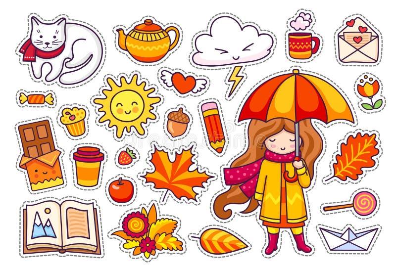 秋天集合,手拉的元素 向量例证