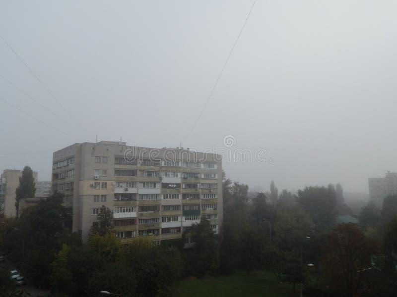 秋天雾早晨上面 免版税库存图片