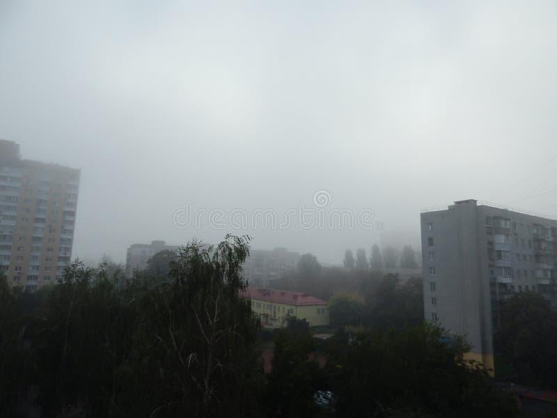 秋天雾早晨上面 免版税库存照片