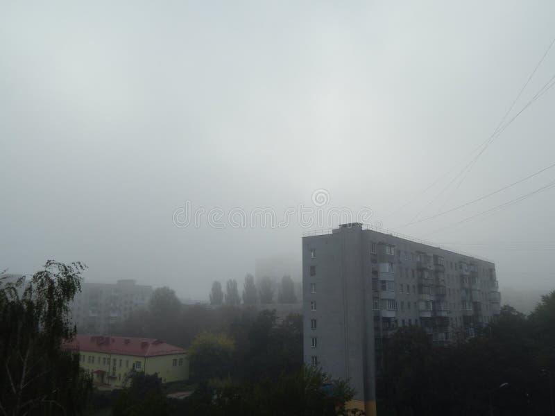 秋天雾早晨上面 库存照片