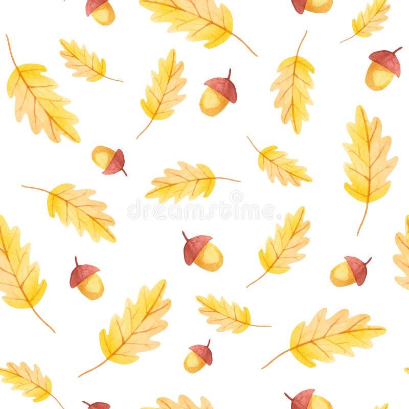 秋天震动 橡子和黄色叶子无缝的样式 库存照片