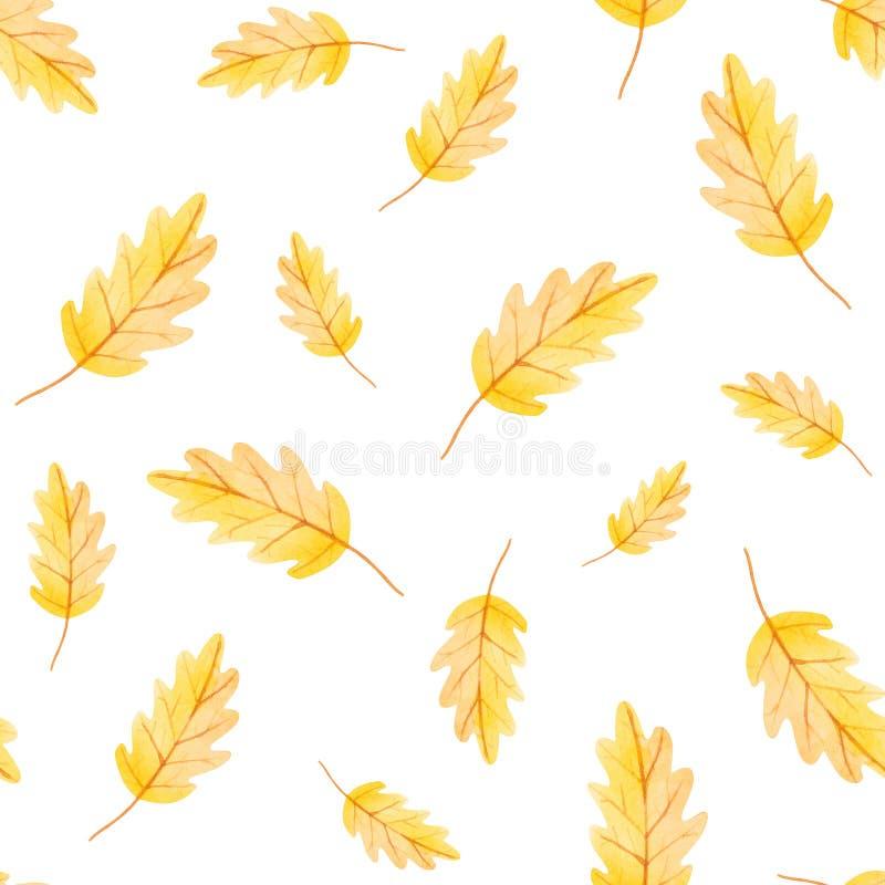 秋天震动 黄色叶子的水彩无缝的样式印刷品的 库存例证