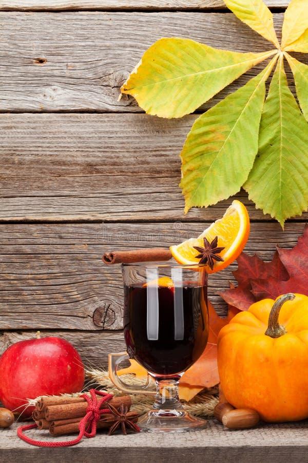 秋天静物画用加香料的热葡萄酒和南瓜 免版税库存图片