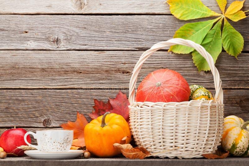 秋天静物画用南瓜和叶子 免版税图库摄影