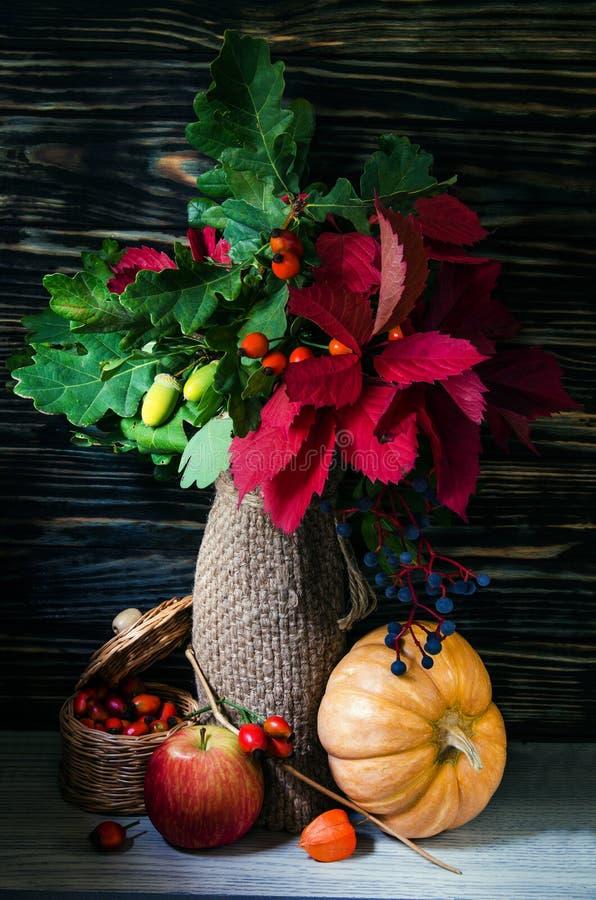秋天静物画用水果和蔬菜 免版税库存照片