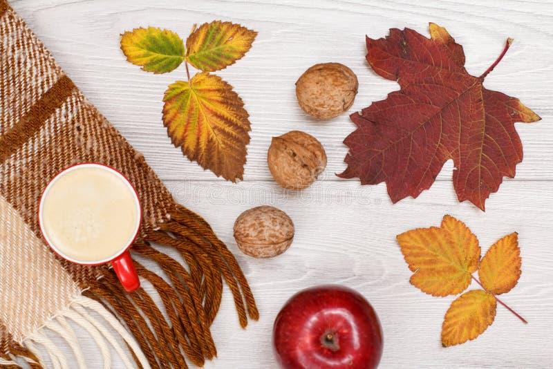 秋天题材 格子花呢披肩、干燥叶子、咖啡,苹果和核桃在木背景 库存照片
