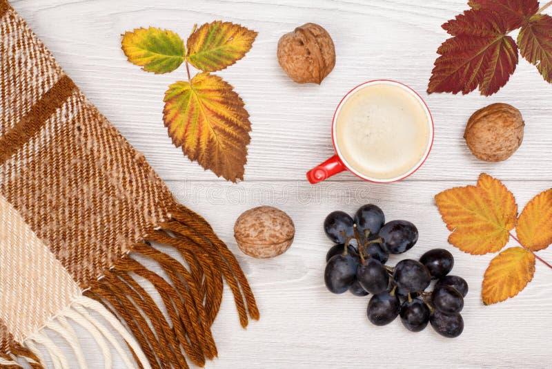 秋天题材 格子花呢披肩、干燥叶子、咖啡,葡萄和核桃在木背景 免版税库存图片