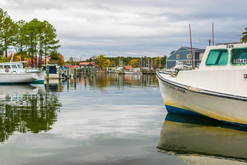 秋天颜色切塞皮克湾岸和港口圣的Michaels 免版税图库摄影