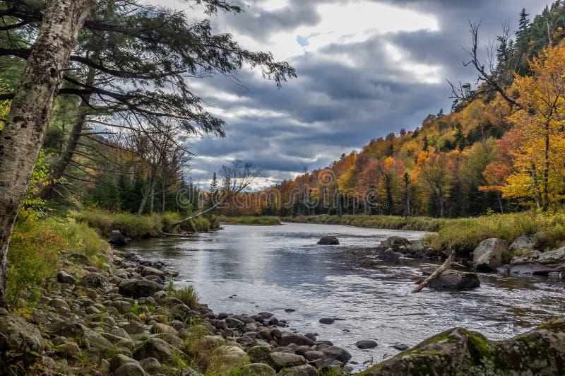 秋天颜色在普莱西德湖城NY 免版税库存图片