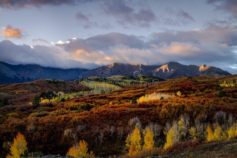 秋天颜色在科罗拉多圣胡安在李奇微和碲化物附近的 库存图片