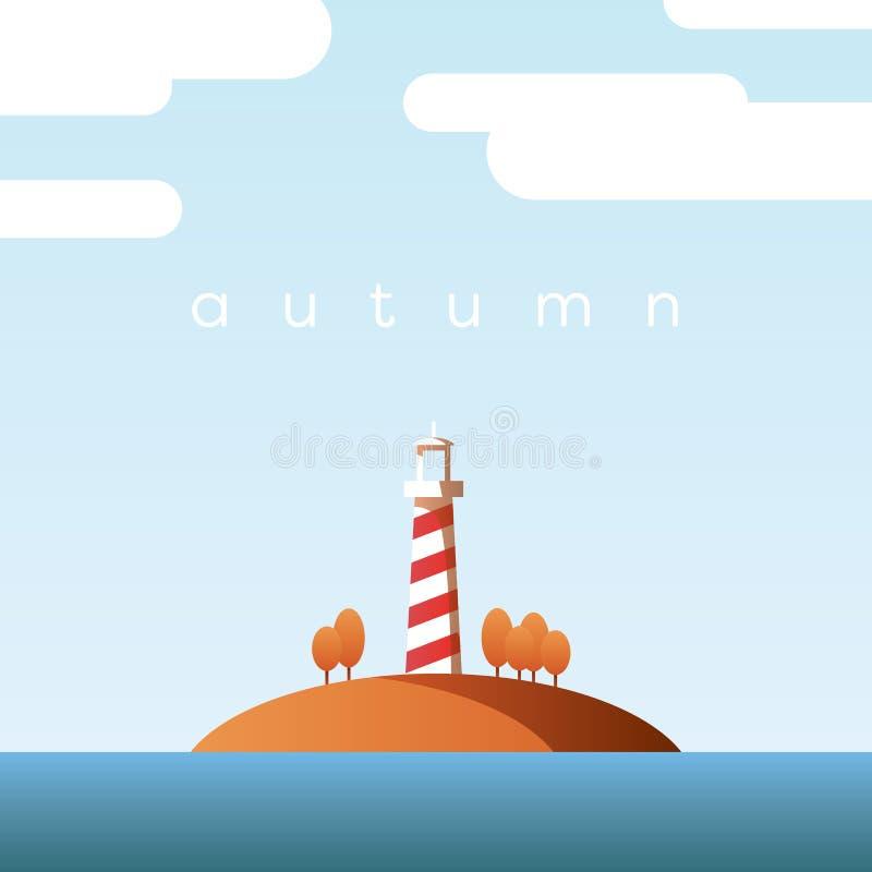 秋天风景与灯塔在海岛上和橙树的传染媒介概念与在清楚的秋天天空的叶子 向量例证