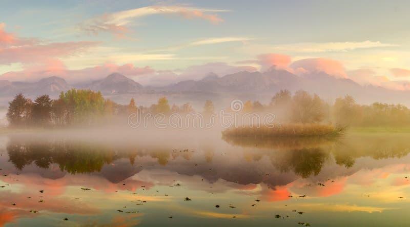 秋天风景和有雾的湖 免版税库存图片