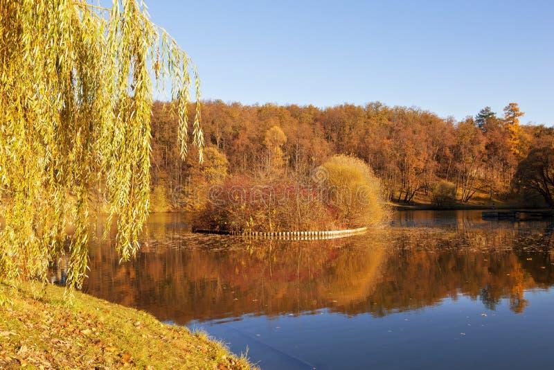 秋天风景在与池塘和小海岛的一个晴天在Tsaritsyno 免版税库存图片