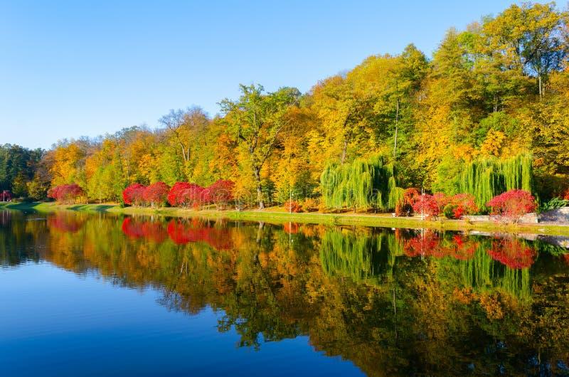 秋天风景有在秋天下午的一个湖视图 库存照片