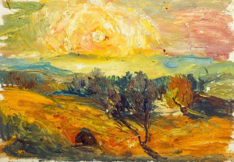 秋天风景美好的原始的油画在帆布的 免版税库存图片