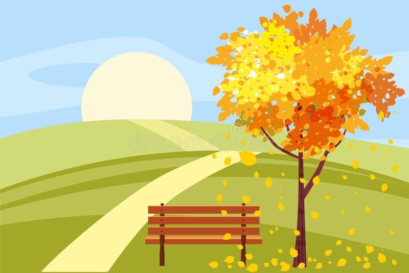 秋天风景,与下落的叶子的树,长木凳,全景,秋季心情,黄色,红色,橙色叶子,动画片 皇族释放例证