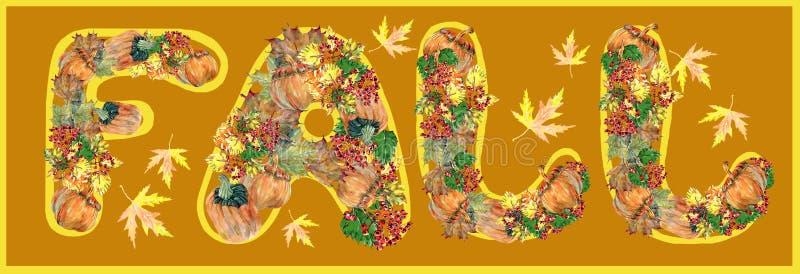 秋天,叶子,南瓜,莓果,水彩 向量例证