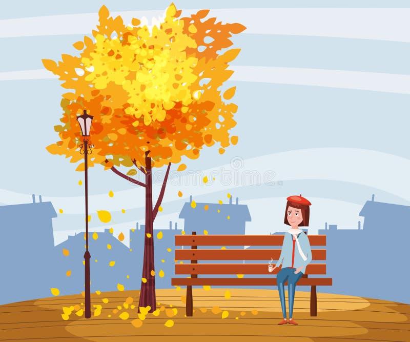 秋天,愉快的女孩坐与一杯咖啡的一条长凳,在与落的叶子的一棵树下在公园,城市,都市 向量例证