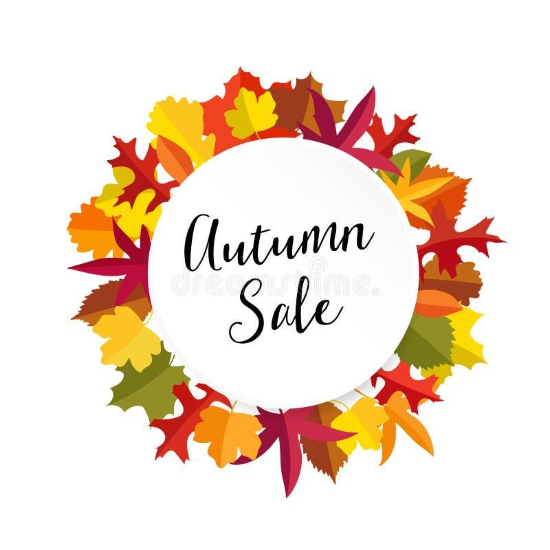 秋天,秋天与五颜六色的叶子的销售横幅 现代平的设计 查出的向量例证 向量例证