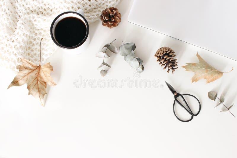 秋天,秋天与闭合的膝上型计算机的工作区构成 咖啡,羊毛毯子,秋叶,干燥玉树 库存照片