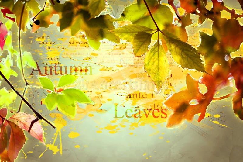 秋天,秋天叶子 - 五颜六色,橙色,绿色,黄色,褐色-数字式艺术,水彩,泼溅物,飞溅,印刷术 免版税库存照片