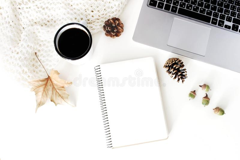 秋天,秋天工作区构成 笔记本大模型场面 咖啡,羊毛毯子,秋叶,杉木锥体 免版税图库摄影
