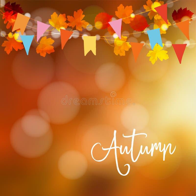 秋天,秋天背景 与槭树和橡木叶子和bokeh光的贺卡 与五颜六色的党的串装饰 皇族释放例证