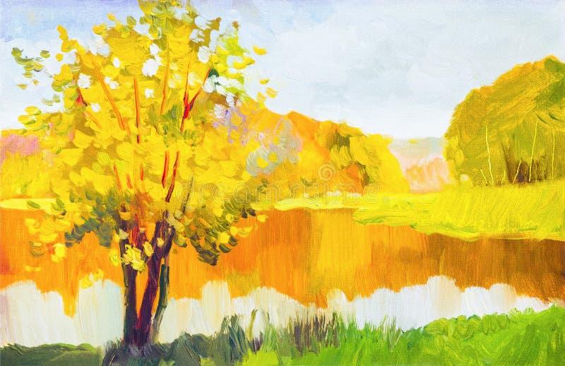 油画五颜六色的秋天树 半森林、白杨木树与黄色-红色叶子和湖的抽象图象 秋天,秋天seaso 皇族释放例证