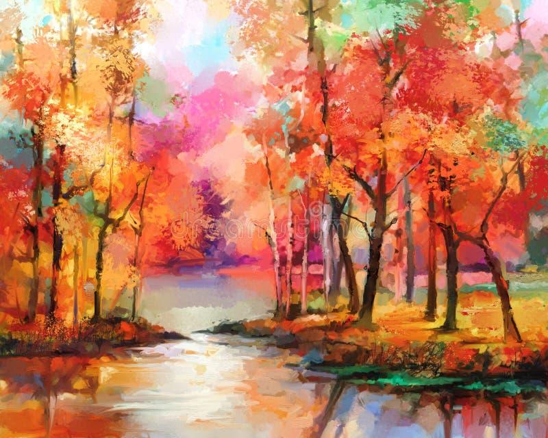 秋天,秋季自然背景 手画Impressionis 库存例证