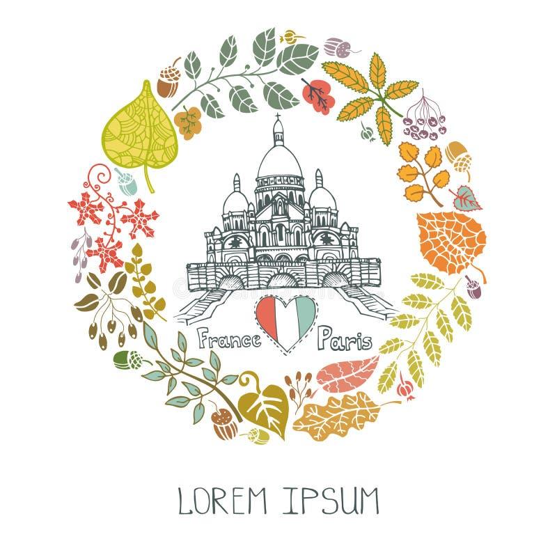 秋天巴黎 叶子花圈和Sacre Coeur 库存例证