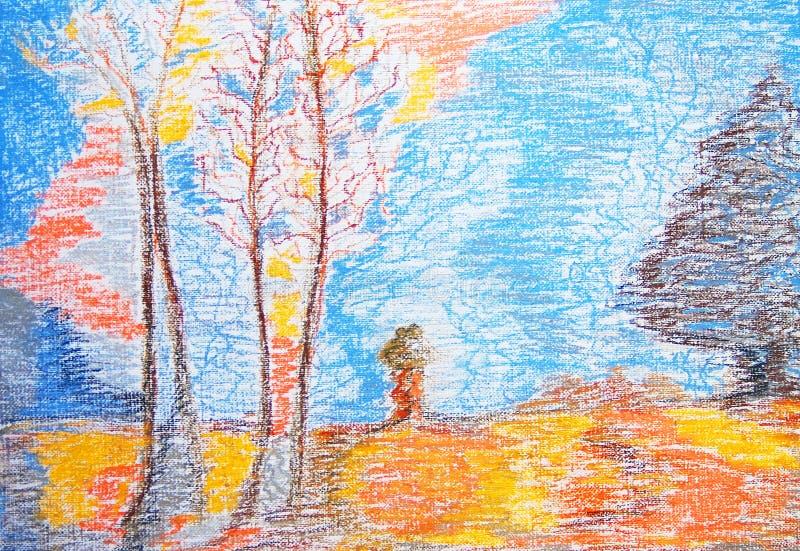 秋天 抽象颜色绘画 拉长的表面现有量例证s妇女 向量例证