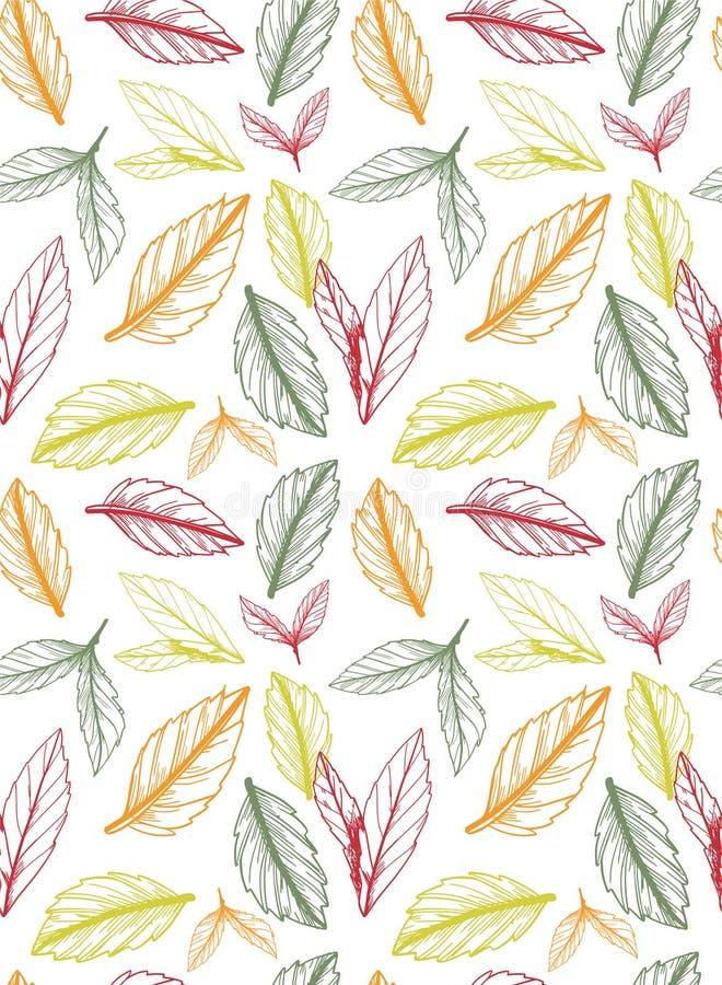 秋天/秋天无缝的样式创造了无法控制速写的叶子 皇族释放例证