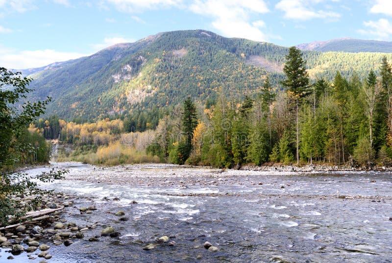 秋天chilliwack河视图 库存图片