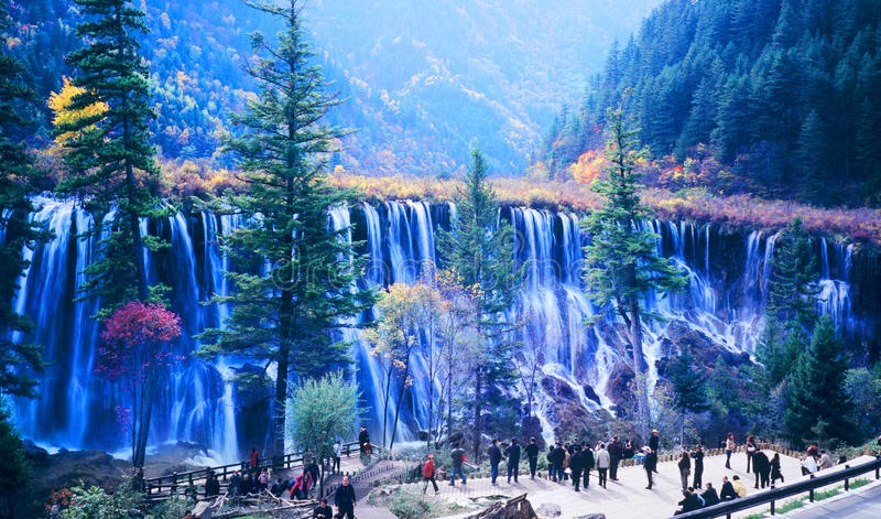 秋天jiuzhaigou结构树瀑布 免版税库存图片