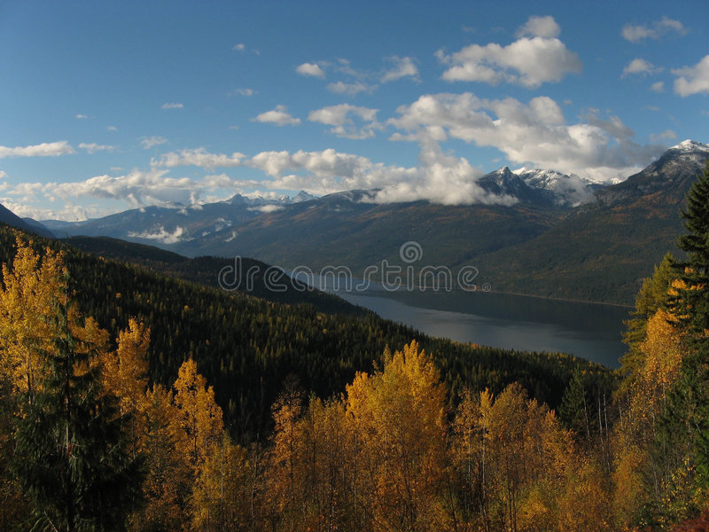 秋天Slocan Valley视图 免版税库存照片