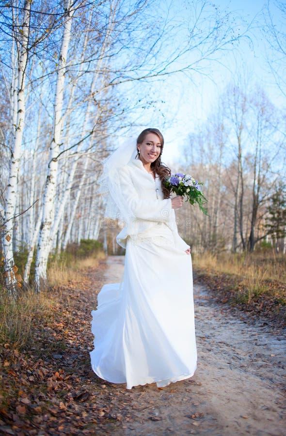 秋天wi的年轻美丽的愉快的亭亭玉立的微笑的新娘女孩妇女 免版税图库摄影