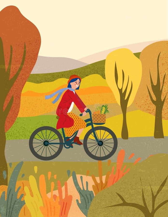 秋季公园骑自行车的年轻女子 向量例证