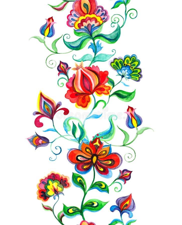 种族东欧框架-与当地花的无缝的花卉边界 水彩 库存例证