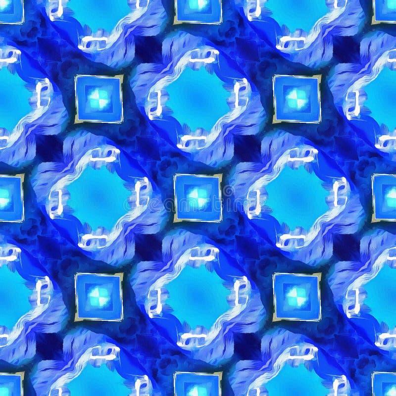 种族五颜六色的Ikat抽象几何雪佛样式白色蓝色红色黄色背景 皇族释放例证