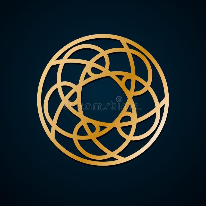 种族几何,花卉圆的装饰品,金线的样式 坛场 装饰金样式,东方主题 设计要素例证图象向量 向量例证