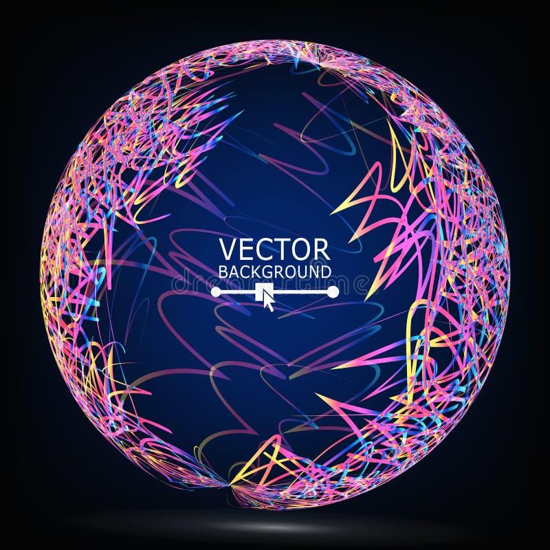 种族分界线球形构成传染媒介 抽象背景发光 向量例证