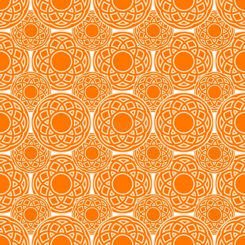 种族圈子橙色无缝的样式 向量例证