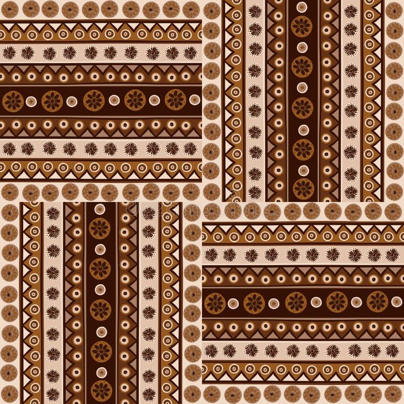 种族在非洲样式的装饰品无缝的样式 库存例证