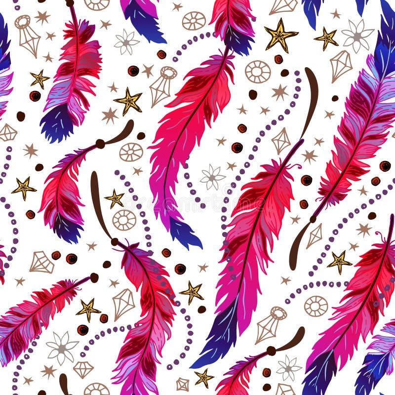 种族在boho样式的羽毛无缝的样式 库存例证