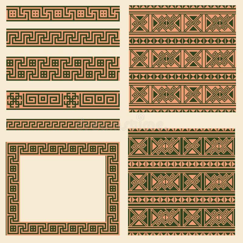 种族希腊的传染媒介集合收藏设计元素 装饰无缝的样式、框架和边界 向量例证