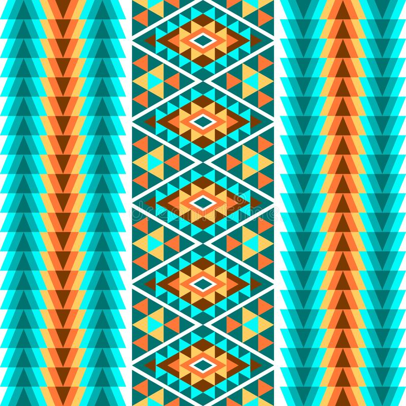 种族无缝的几何样式 条纹的一件五颜六色的装饰品在白色背景的 r 皇族释放例证