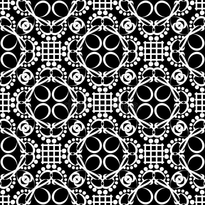 种族样式黑白传染媒介线无缝的样式 手拉的线艺术网眼图案乱画蔓藤花纹装饰品 ?? 库存例证