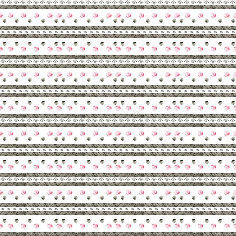 种族水彩样式 时尚阿兹台克几何背景 手拉的单色样式 现代抽象墙纸 向量例证