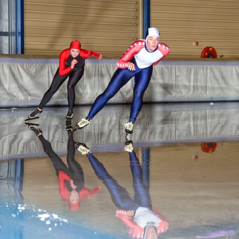种族滑冰的速度 免版税库存图片
