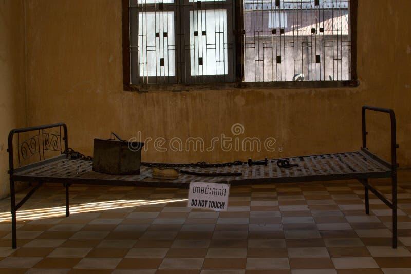 种族灭绝博物馆血淋淋的红色高棉政权 免版税库存照片
